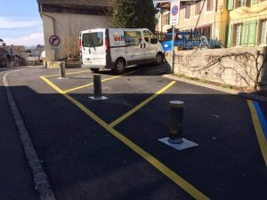 Neuchatel, Switzerland: J200  Bollards for parking area - installed by W-Matic